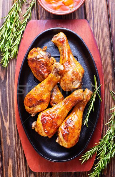 Gebacken Beine Schüssel Tabelle Essen grünen Stock foto © tycoon