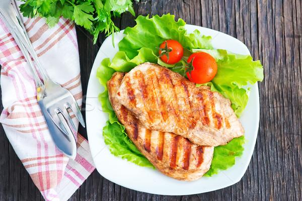 鶏の胸肉 白 プレート 表 食品 フルーツ ストックフォト © tycoon