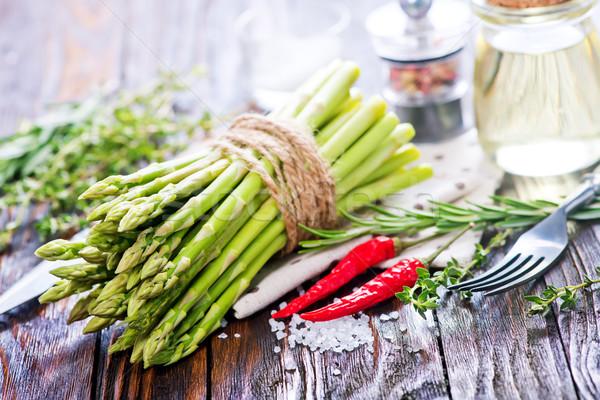 спаржа сырой соль аромат Spice таблице Сток-фото © tycoon