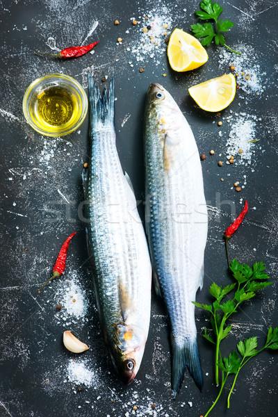 Zdjęcia stock: Ryb · surowy · przyprawy · tabeli · żywności