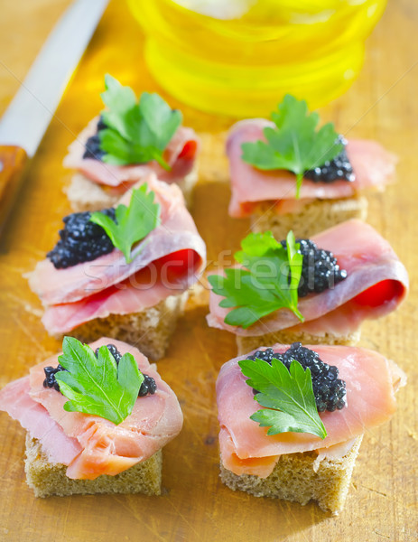 canape with fish and caviar Stock photo © tycoon