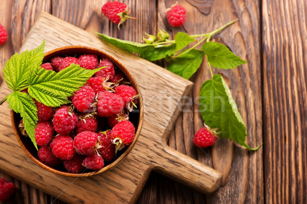 Framboise fraîches bol stock photo fond Photo stock © tycoon