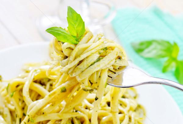 Pasta pesto alimentare salute ristorante verde Foto d'archivio © tycoon