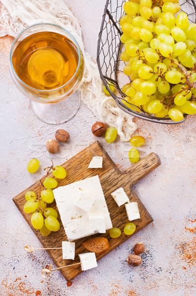 Foto stock: Vino · queso · mesa · stock · foto · vidrio