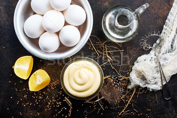 Mayonnaise Glas Schüssel Tabelle Küche schwarz Stock foto © tycoon