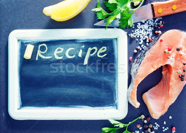 Ricetta bordo greggio pesce tavola Foto d'archivio © tycoon