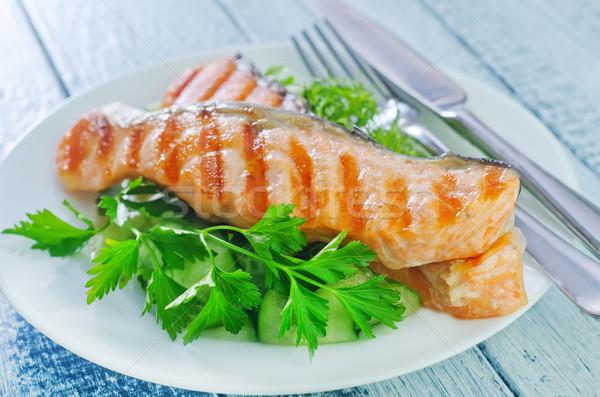 Foto d'archivio: Salmone · pesce · ristorante · verde · limone