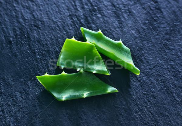 Aloe verde fresche tavola acqua foglia Foto d'archivio © tycoon