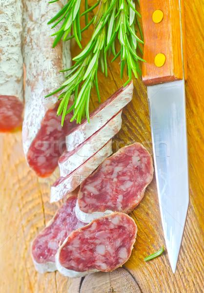 Salam gıda kırmızı cilt yağ tahta Stok fotoğraf © tycoon