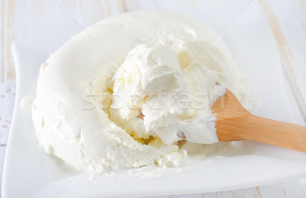 Mascarpone gâteau vert fromages plaque fraise Photo stock © tycoon