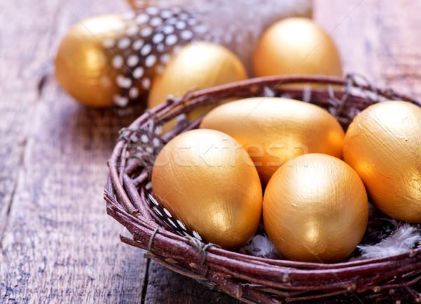 Ostereier golden Eier Nest Tabelle Business Stock foto © tycoon