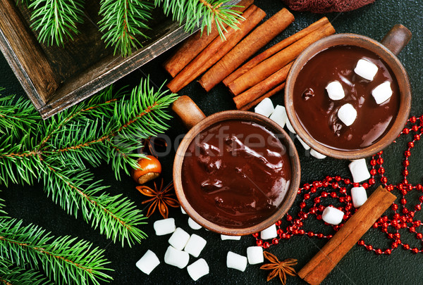 Sıcak çikolata baharat fincan arka plan kış süt Stok fotoğraf © tycoon