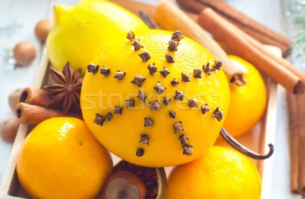 свежие апельсинов корицей Рождества продовольствие фрукты Сток-фото © tycoon