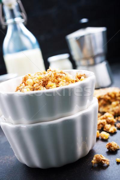 Granola tatlı fındık bal çanak çocuklar Stok fotoğraf © tycoon