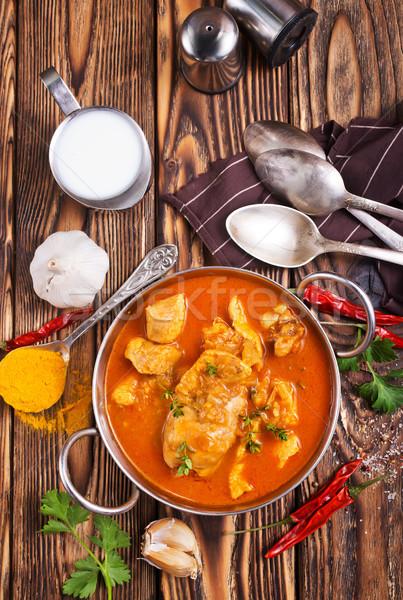 Tavuk köri geleneksel Hint yemek tavuk baharatlı Stok fotoğraf © tycoon