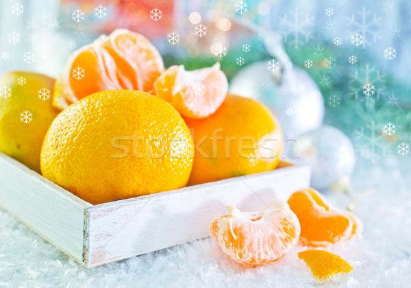Noel meyve kar turuncu tablo sunmak Stok fotoğraf © tycoon