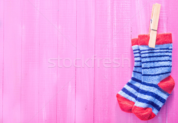 Bébé chaussettes rose table en bois fille texture Photo stock © tycoon