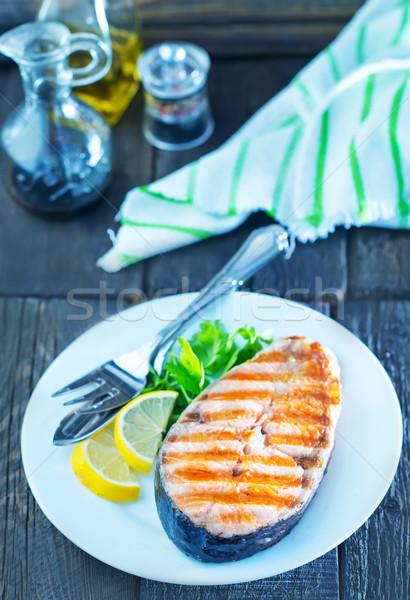 フライド 鮭 プレート 表 レモン フォーク ストックフォト © tycoon