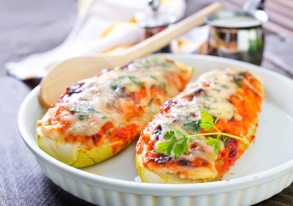 Stock photo: marrow stuffed with cheese and meat