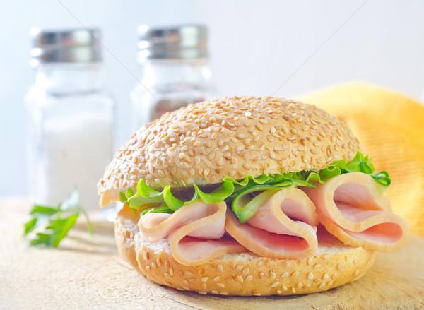 Sandwich Schinken Gurken Essen Blatt Brot Stock foto © tycoon