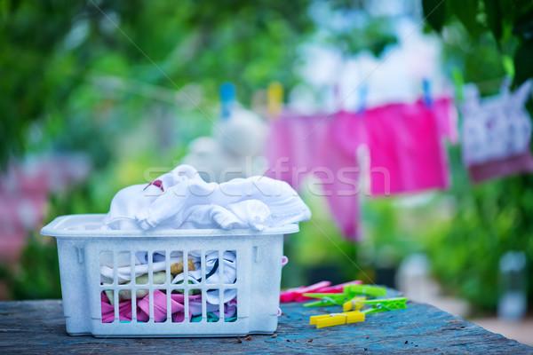 Сток-фото: ребенка · одежды · подвесной · линия · саду · весны