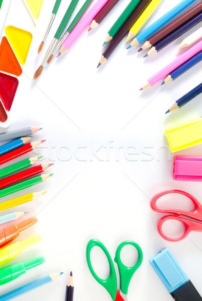 Schoolbenodigdheden kantoor textuur boek hout school Stockfoto © tycoon