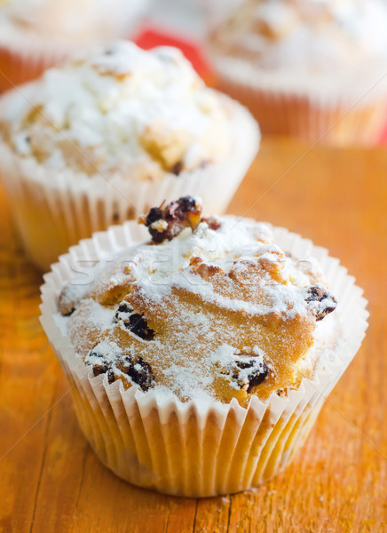 Sweet Muffins with tea on the table Stock photo © tycoon