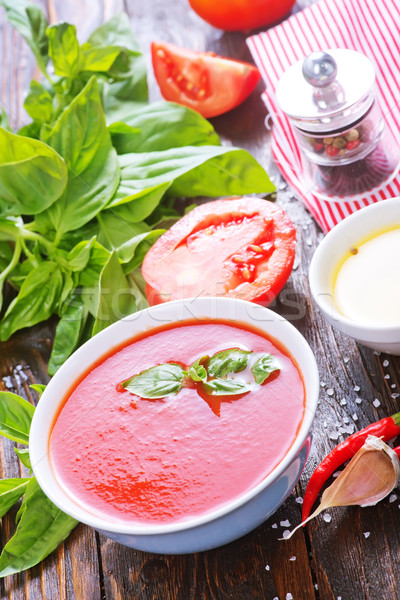 Zupa pomidorowa puchar tabeli drewna kuchnia kolor Zdjęcia stock © tycoon