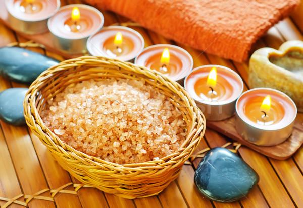 Zeezout brand schoonheid bar massage kaars Stockfoto © tycoon