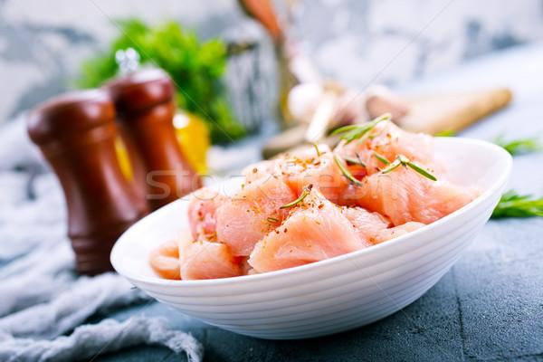Kip filet ruw witte kom tabel Stockfoto © tycoon