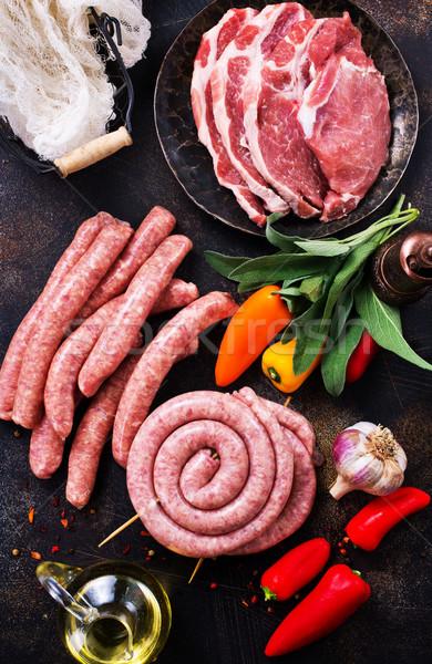ストックフォト: 肉 · ソーセージ · 生 · 表 · 在庫 · 写真