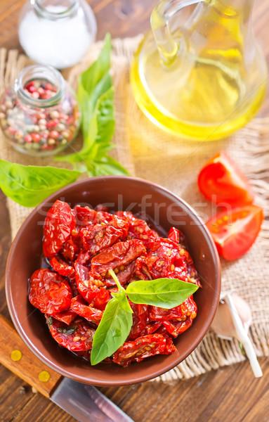 Photo stock: Sécher · tomate · bois · verre · fond · blanche