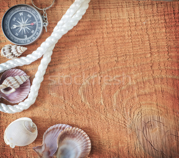 Fundo papel arte bússola padrão corda Foto stock © tycoon