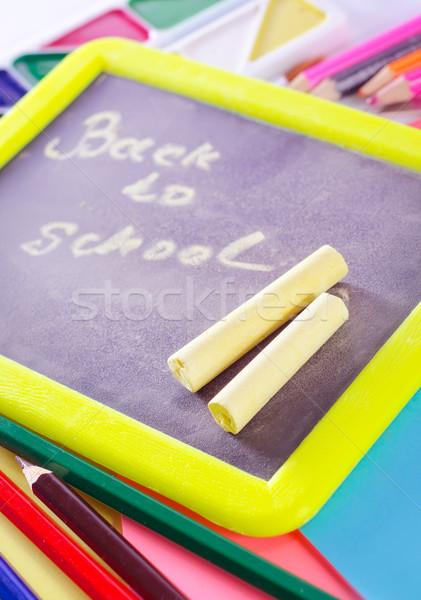 Tanszerek ceruza főiskola osztály óriásplakát iskolatábla Stock fotó © tycoon