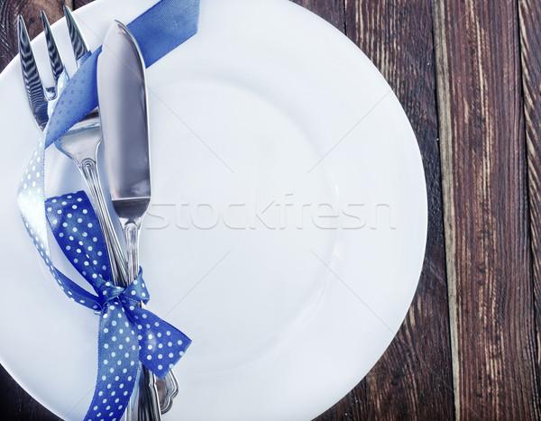 посуда вилка ножом белый пластина таблице Сток-фото © tycoon