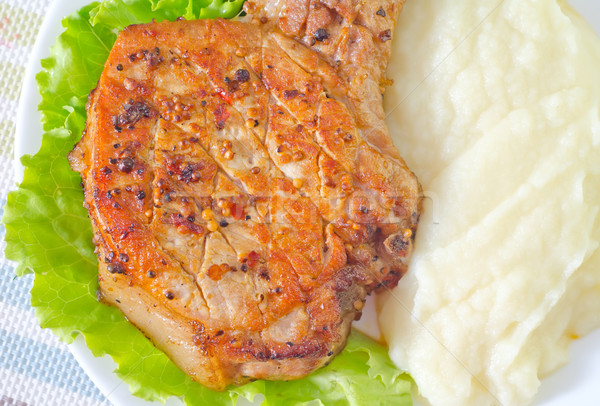 steak with mashed potato Stock photo © tycoon