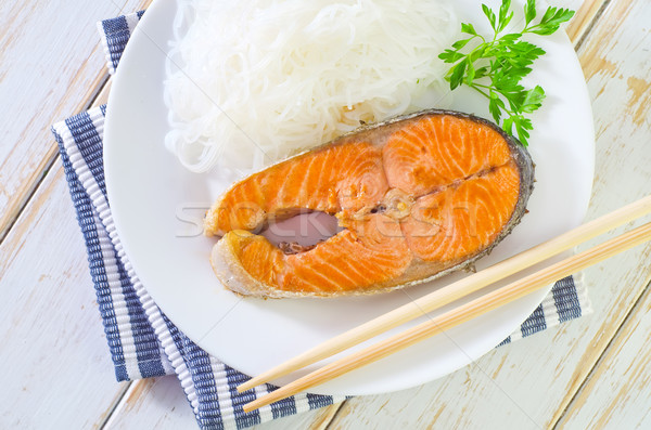 salmon with rice noodles Stock photo © tycoon