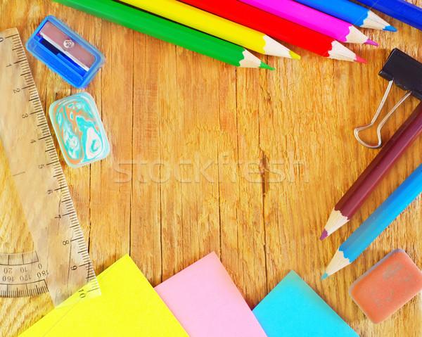 школьные принадлежности служба текстуры книга школы пер Сток-фото © tycoon