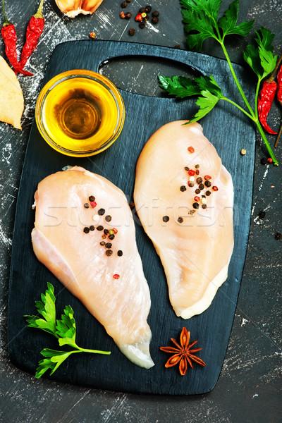 Kip vlees ruw aroma Spice tabel Stockfoto © tycoon