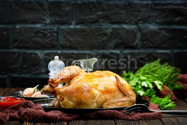 Frango assado tempero tabela comida frango jantar Foto stock © tycoon