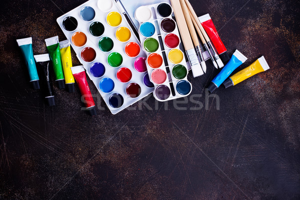 Fournitures scolaires table stock photo fond art Photo stock © tycoon