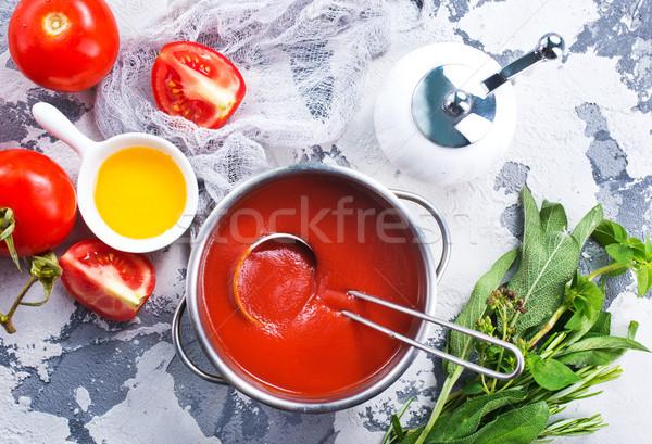 Sopa de tomate frescos tomate mesa de cocina alimentos cocina Foto stock © tycoon