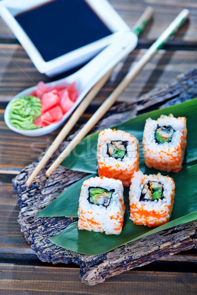 Sushi plaat tabel hout asian vers Stockfoto © tycoon