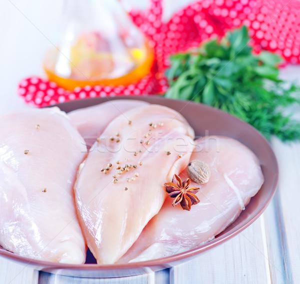 Ruw kip filet plaat tabel voedsel Stockfoto © tycoon