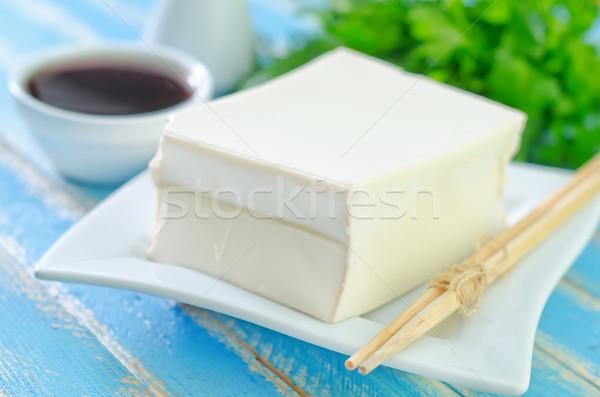 Tofu sajt kék tányér fekete ázsiai Stock fotó © tycoon