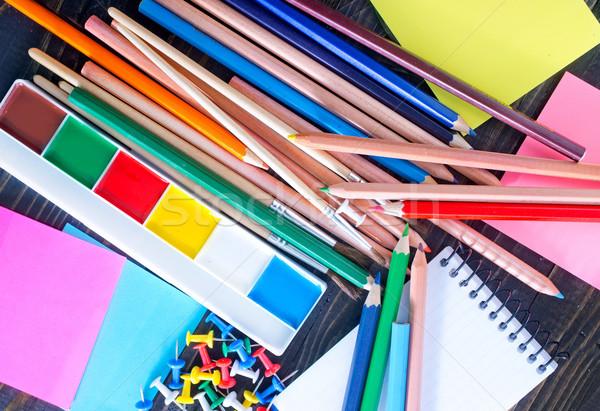 Tanszerek iskolatábla asztal diák piros szín Stock fotó © tycoon