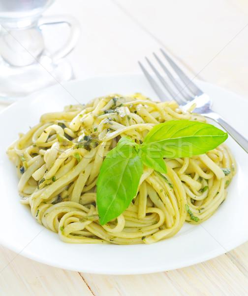 Makaronu bazylia zielone oleju obiedzie tablicy Zdjęcia stock © tycoon