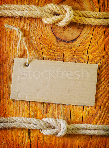 rope and blank on wooden background Stock photo © tycoon