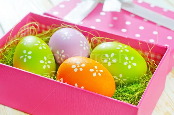 Húsvéti tojások húsvét virág tavasz doboz űr Stock fotó © tycoon
