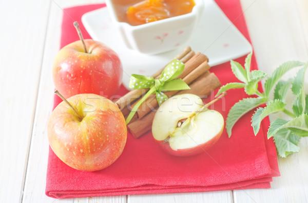 Canela manzana vidrio escritorio placa postre Foto stock © tycoon